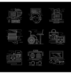 Detailed white line online education icons vector image