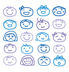 face kids draw emotion feeling icon vector image