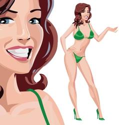 Girl in green bikini vector