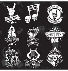 Heavy Metal rock badges set vector image