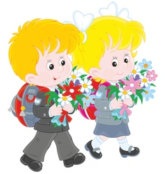 Schoolchildren going to school vector image vector image