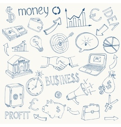 Set of business and money icons vector image