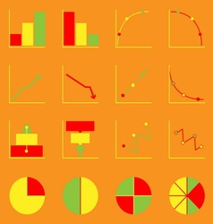 Applied graph color icons set vector image vector image