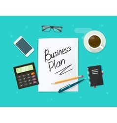 Business plan paper sheet on working table vector image