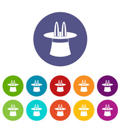 magic hat set icons vector image vector image