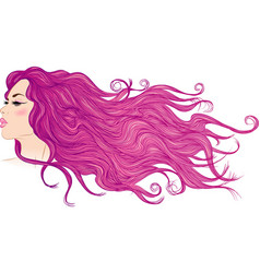 Profile of a girl with long flowing purple hair vector image vector image