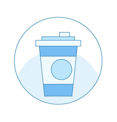 icon with a cup of coffee in blue mug in a circle vector image vector image