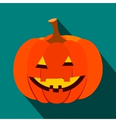 Pumpkin with a smile flat icon vector image