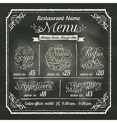 Restaurant Food Menu Design Chalkboard Background vector image vector image