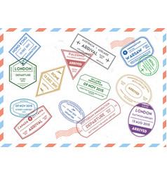 travel stamps set on mail envelopes background vector image