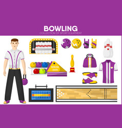 bowling sport equipment bowler player garment vector image