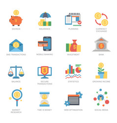 business financial icons set flat style vector image vector image