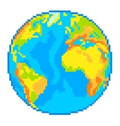 Pixel Earth globe isolated vector image
