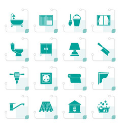 stylized construction and building equipment icons vector image