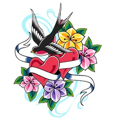 swallow flower tattoo vector image vector image