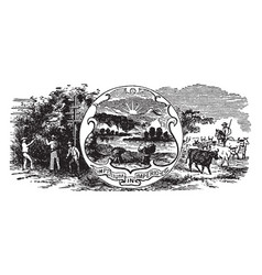 the official us state seal of ohio vintage vector image