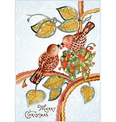 vintage watercolor christmas card vector image