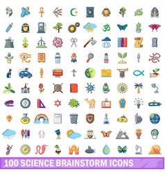 100 science brainstorm icons set cartoon style vector
