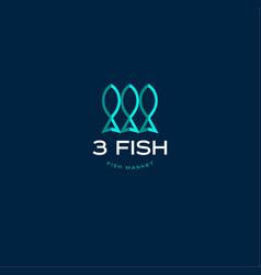 3 fish seafood market logo vector image