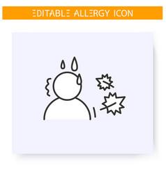 Autumn allergy line icon editable vector