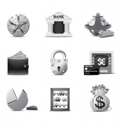 banking icons bw series vector image