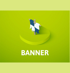 banner isometric icon isolated on color vector image