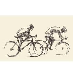 Bicyclist rider mans bike hand drawn sketch vector image