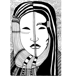Black and white surreal girl face vector