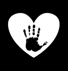 black silhouette of human hand print inside of vector image