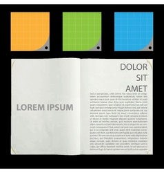 Blank pages inside journal vector
