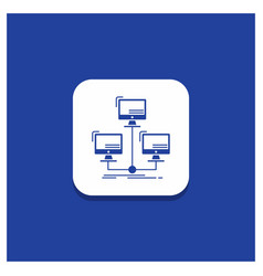 blue round button for database distributed vector image