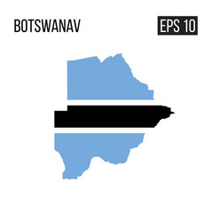 botswana map border with flag eps10 vector image