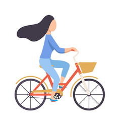 brunette woman in casual clothes riding bicycle vector image