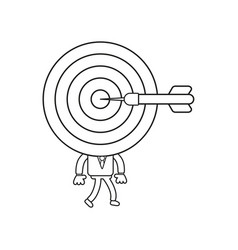 Businessman character with bulls eye head dart in vector
