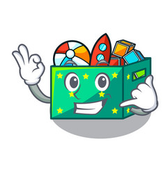 Call me children toy boxes isolated on mascot vector