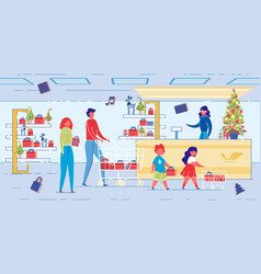 cartoon family buy presents for christmas holiday vector image