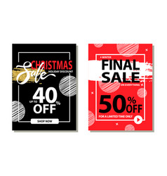 Christmas sale holiday discount final prices 50 vector