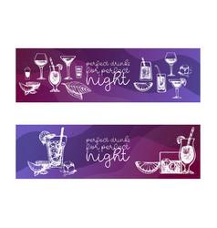 cocktails set for menu design bars vector image