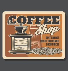 coffeeshop cafeteria coffee grinder mill vector image
