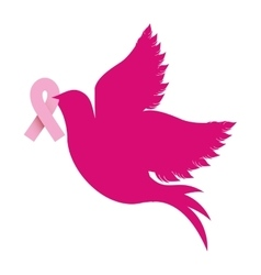 Color silhouette of dove with symbol of breast vector