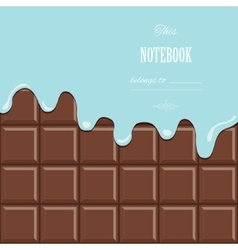 Cream melted on milk chocolate bar background vector