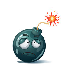 cute funny crazy - cartoon bomb character vector image