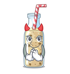 Devil healthy banana smoothie in cartoon glass vector