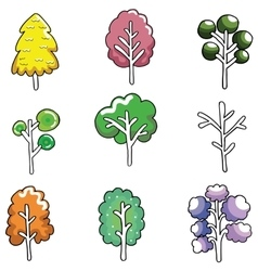 Doodle of cute tree color set vector