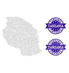 Dotted map of tanzania and grunge stamp collage vector