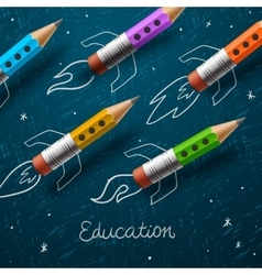 Education Rocket ship launch with pencils vector image