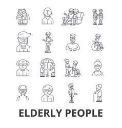 Elderly people care elderly couple old people vector