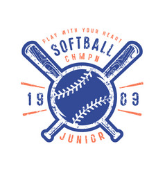 emblem of softball junior team vector image