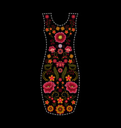 Fashion dress template with floral embroidery vector