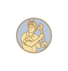 Female Riverter Rolling Sleeve Spanner Mono Line vector image vector image